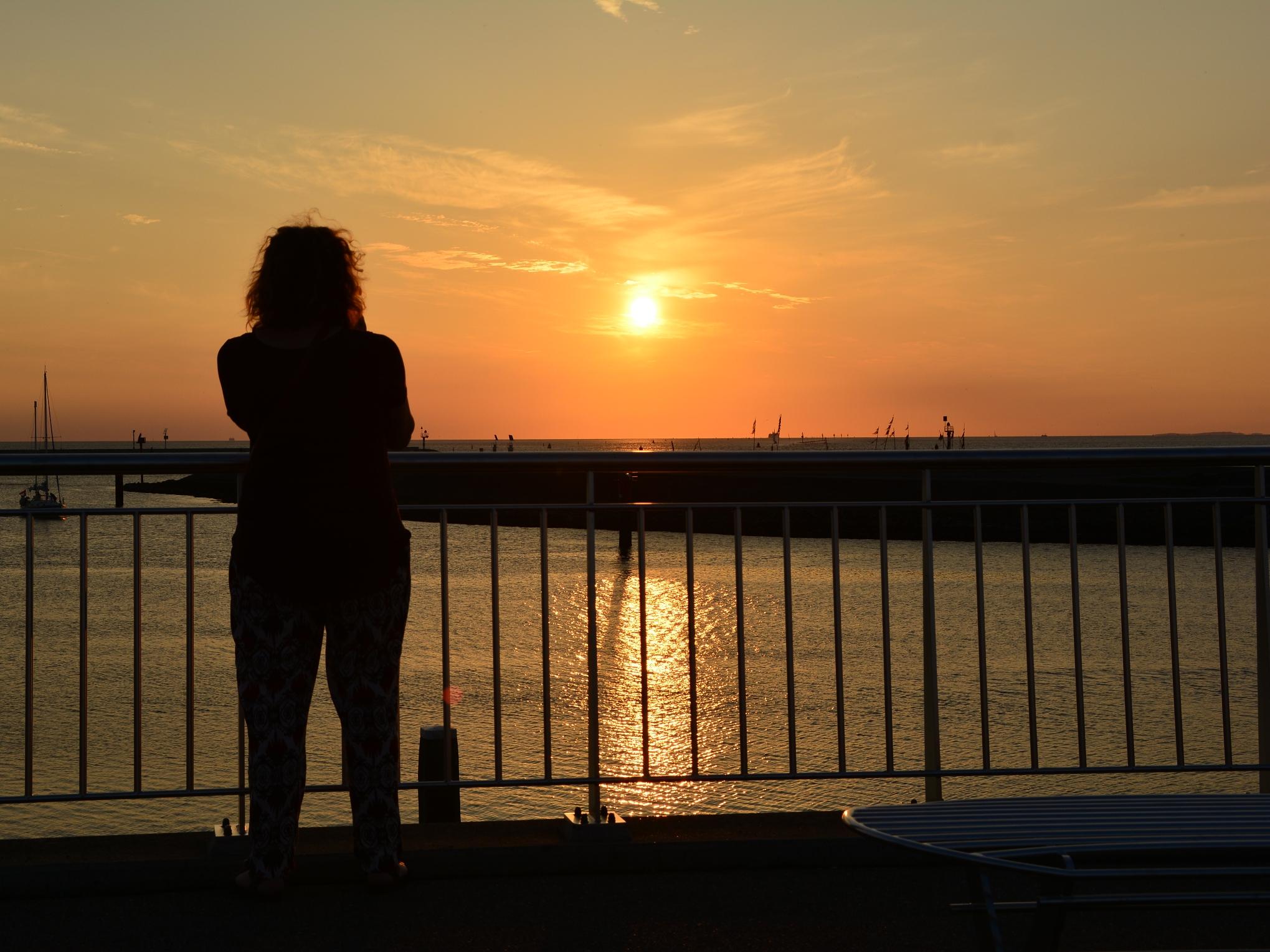 Silhouette tegen zonsondergang